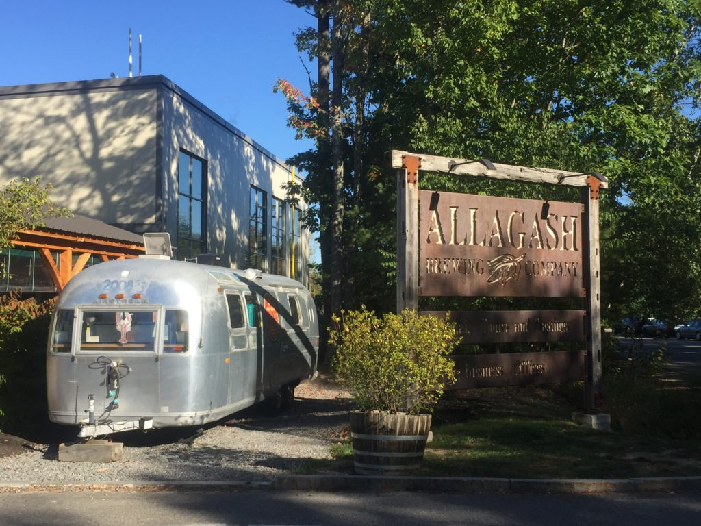 Outside of Allagash brewery with Airstream
