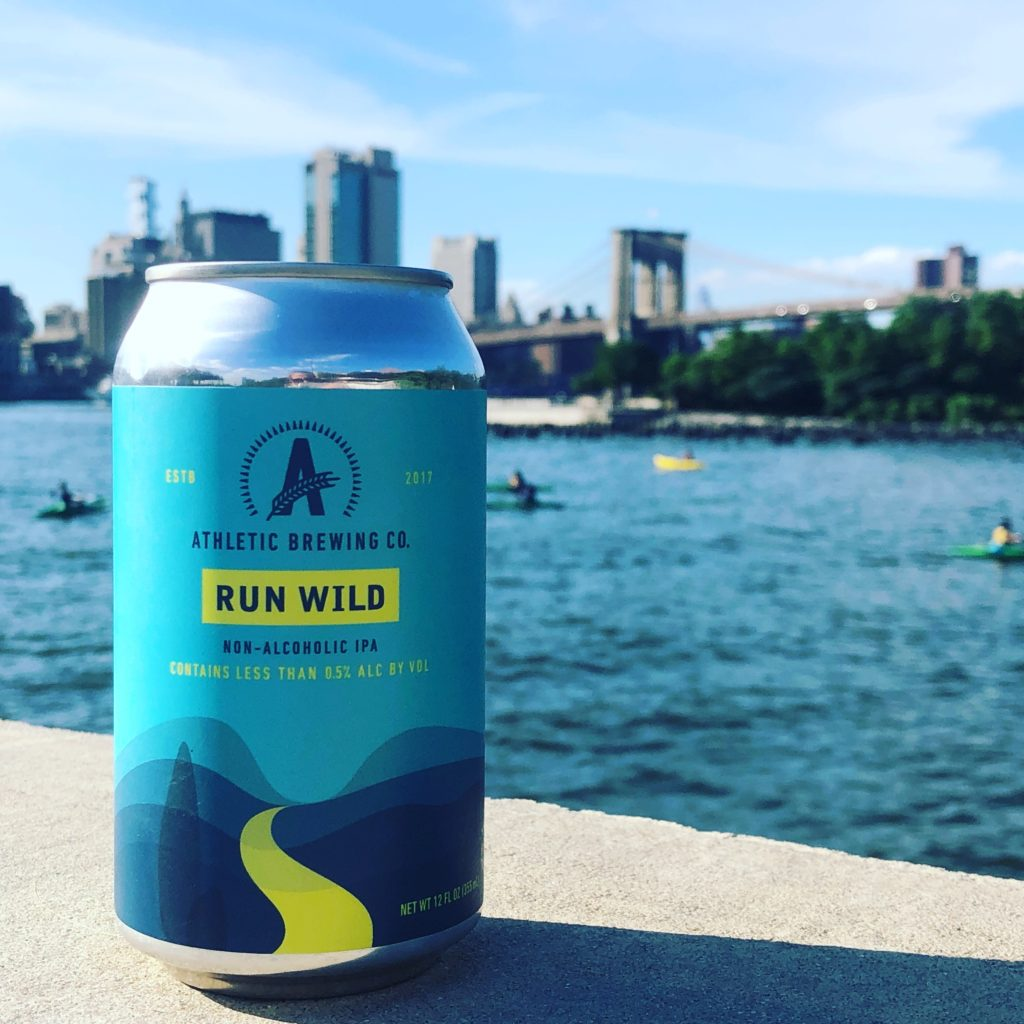 Athletic brewery Run Wild in front of Brooklyn Bridge